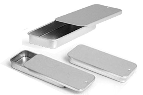 MagnaKoys Metal Slide Top Tin Containers for Crafts Geocache & Storage Survival Gear (Pack of 3)