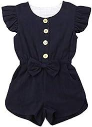 BULINGNA Toddler Kids Baby Girl Flutter Sleeve Short Romper Jumpsuit Botton Down Shirt Tops with Bowknot