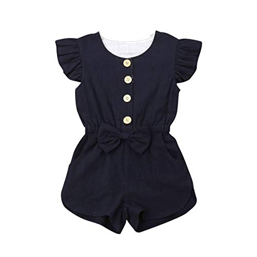 Toddler Kids Baby Girl Flutter Sleeve Short Romper Jumpsuit Botton Down Shirt Tops with Bowknot (Navy Blue, 3-4T)