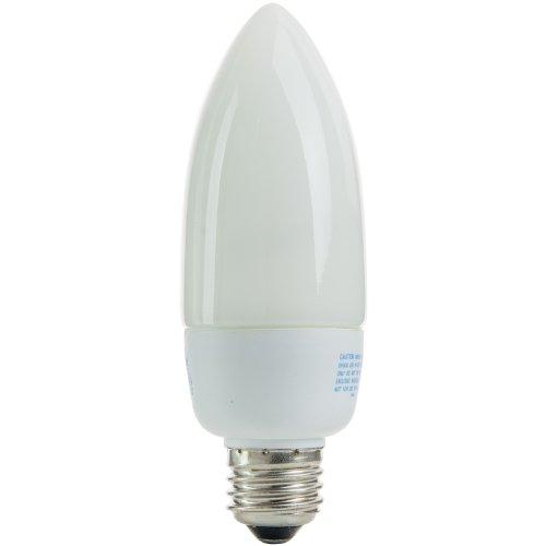Sunlite SLM14/TW/30K SLM White Torpedo Tip Chandelier 14 Watt Energy Saving CFL Light Bulb Medium Base, Warm White ()
