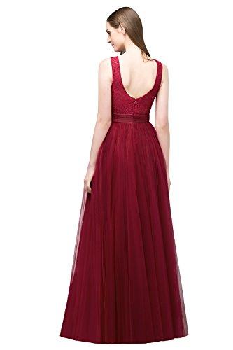 A Maxilang Ausschnitt Elegant Tüll Abendkleid Linie U Ballkleider Kleid MisShow Cocktail Ärmellos Brautjungfernkleid Weinrot Damen aCF7H7
