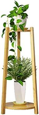 Khkfg 2層花はしご竹植物ディスプレイスタンドサイドテーブル用小さな鉢植え植物豊かでカラフルな使用11.8 x 11.8 x 28.7in