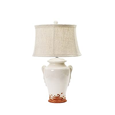 Fangio Lighting 8763EGGCR Traditional Ceramic Table Lamp, 28-Inch, Eggshell with Terracotta