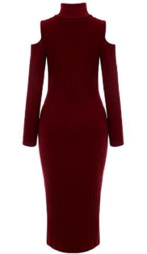 Rosso Maniche Tagliati Solidi donne Coolred Pullover Alto Collo Lunghe Spalla BZqzxcpUv