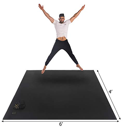 Gxmmat Large Exercise Mat 6'x 4'x 7mm Ultra Durable,Non-Slip,Thick Workout Mats for Home Gym Flooring- Plyo,MMA,Jump,Gymnastics,Cardio Mat (Best Cardio Workout At Gym)