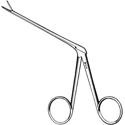 Sklar Instrument 67-8008 Micro Alligator Ear Forceps, Delicate, Curved Right, 3 1/4'' Length