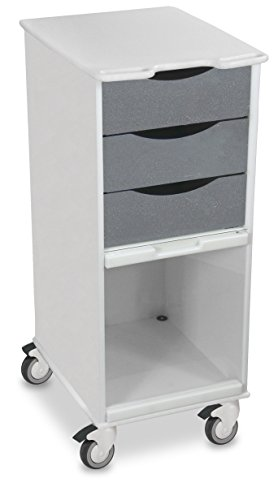 "TrippNT 51179 Polyethylene Core SP Space Saving Locking Lab Cart with Clear PETG Door, 15"" Width, 35"" Height x 19"" Depth, Silver Metallic and White (Metallic File Cabinet)"