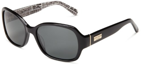 Kate Spade Women's Akira Polarized Rectangular Sunglasses,Black,54 mm