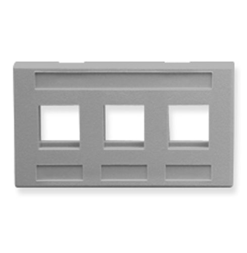 12 Pack FACEPLATE- FURNITURE- 3-PORT- GRAY (Catalog Category: Installation Equipment / Wall Jacks/Inserts) ()