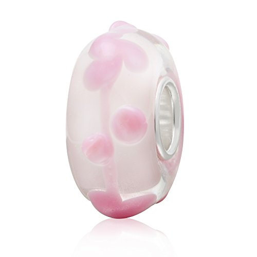 Ollia Jewelry Lampwork Murano Glass Beads Beach Garden Charm with 925 Sterling Silver Core Flower Blossom Charm For Bracelet