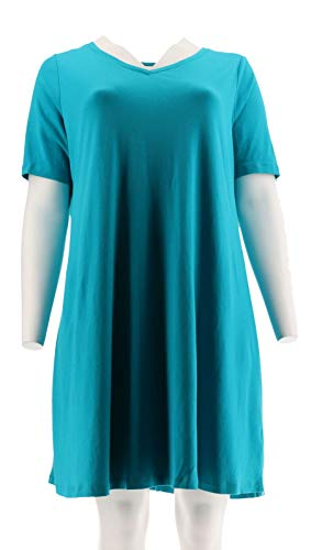 (Isaac Mizrahi Essentials Pima Cotton Dress Riviera Teal M New A306544)