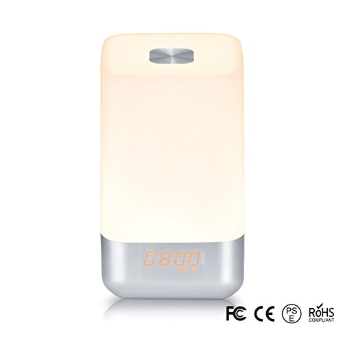 Aobeau Light Therapy Wake Up Light Alarm Clock with Sunrise Simulation and 5 Natural Sounds, LED Dimmable Light,Night Light for Kids
