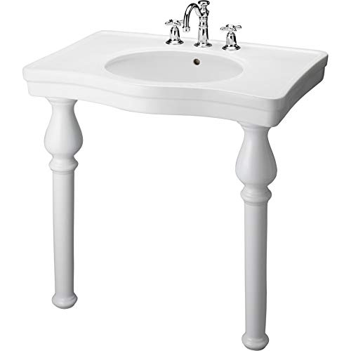 Barclay 968-WH Milano Console Table with 8-Inch Widespread - Inch Console 8 Sink Spread