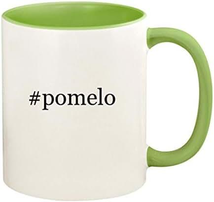 #pomelo - 11oz Hashtag Ceramic Colored Handle and Inside Coffee Mug Cup, Light Green