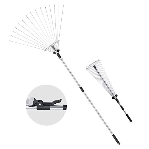 - ORIENTOOLS Steel Leaf Rake, Telescopic Leaves Rake with Adjustable 8