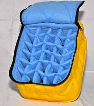 "30-Bottle Essential Oil Carrying Cases hold 5ml, 10ml and 15ml bottles - Yellow with Baby Blue interior - 3"" high"