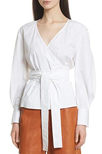 Grey Jason Wu Puff Sleeve Poplin Wrap Blouse for Women in Star White, 6 ()