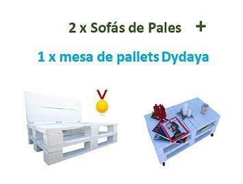 2 x Sofá de Palets + 1 Mesa de Palets Blanca Dydaya: Amazon ...