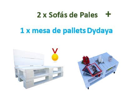 2 x Sofá de Palets + 1 Mesa de Palets Blanca Dydaya ...