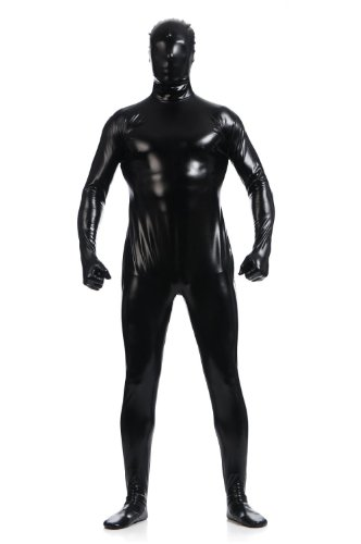 [WOLF UNITARD Men's Shiny Metallic Zentai Full Body Suit Small Black] (Acrobat Costume Circus)