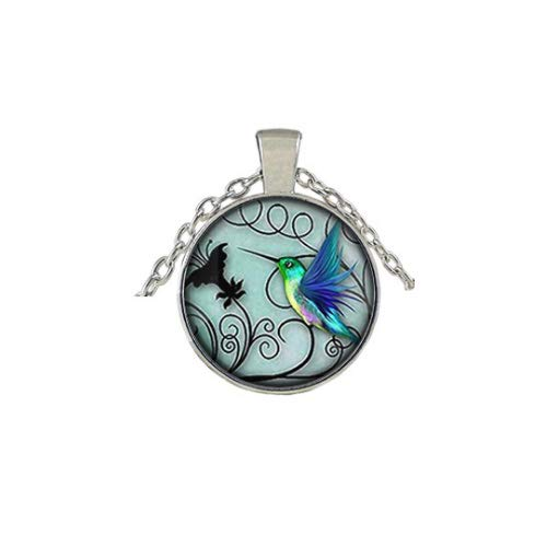 Blue Hummingbird 20mm Pendant Necklace Includes Chain - MY#021F