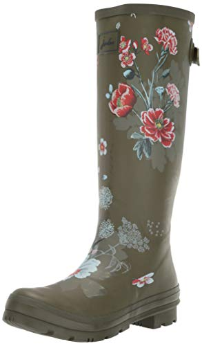 Joules Women's Welly Print Rain Boot Green Floral 7 Medium US ()