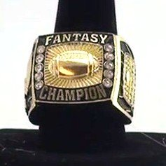 Fantasy Football Champion Ring / Heavy FFL Studded Championship Winner - Decade Awards - League Champ (GOLD, 10)