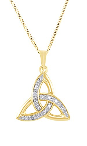 - AFFY White Natural Diamond Celtic Triangle Pendant Necklace in 14k Yellow Gold Over Sterling Silver (0.1 Ct)