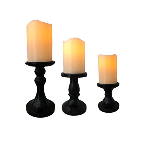 The Nifty Nook I Flamless LED Candles Holder I Set of 3 I Home Decor (Black)