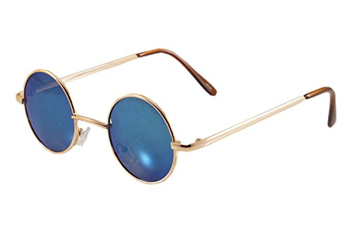 FBL Vintage John Lennon Round Sunglasses Mirrored/ Smoke Lens (z.Gold/ Blue RV, - Sunglasses John Prescription Lennon