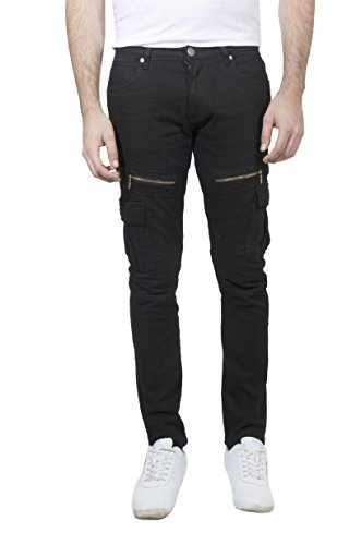 Patron Cito Men's Denim Skinny Fit Fashion Stretch Cargo Jeans With Zippers (38/30, Black)
