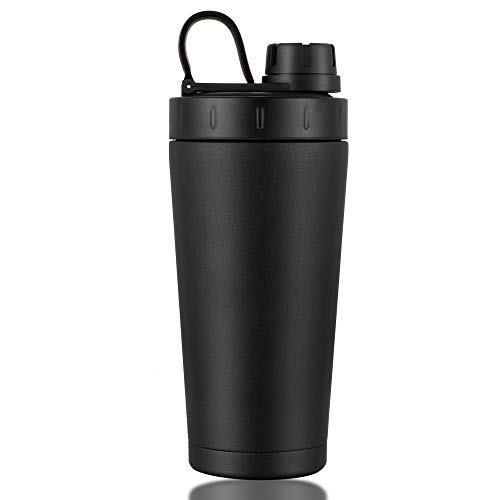 FUNUS Protein Shaker Bottle| Insulated Water Bottle| Coffee Mug 3 in 1 No Sweats Dishwasher Safe 100% Leak Proof Stainless Steel Shaker Cup BPA Free Outdoors Office Fitness Gym Sports Water Bottle