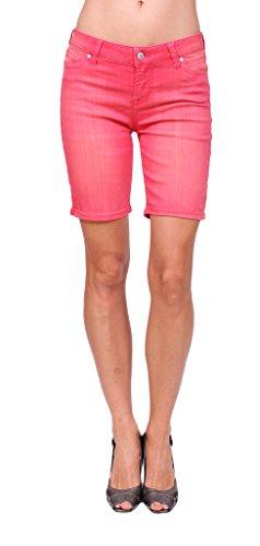 Celebrity Pink Jeans Women Middle Rise Pink Bermuda Shorts Jeans with Hem Slit
