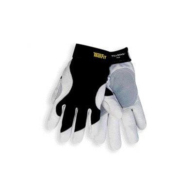 Extra-Large TrueFitTM Top Grain Goatskin With Rough Side Out Double Palm And Thumb, Black Spandex Back, Performance Gloves W/Hook & Loop Closure
