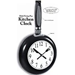 Etna Metal Frying Pan Kitchen Clock, Black