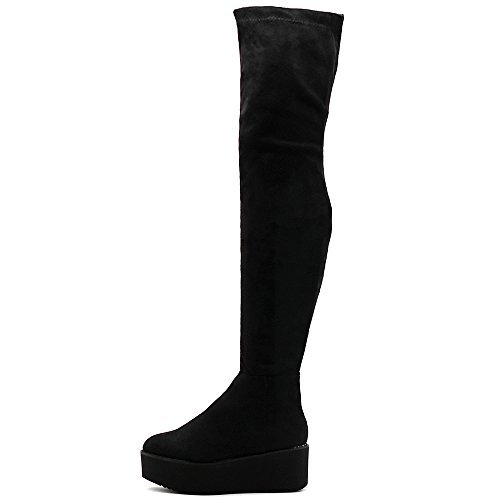 Ollio Women's Shoe Stretch Faux Suede Thigh-high Flat Platform High Heel Long Boots TWB01018(8 B(M) US, Black-SU)
