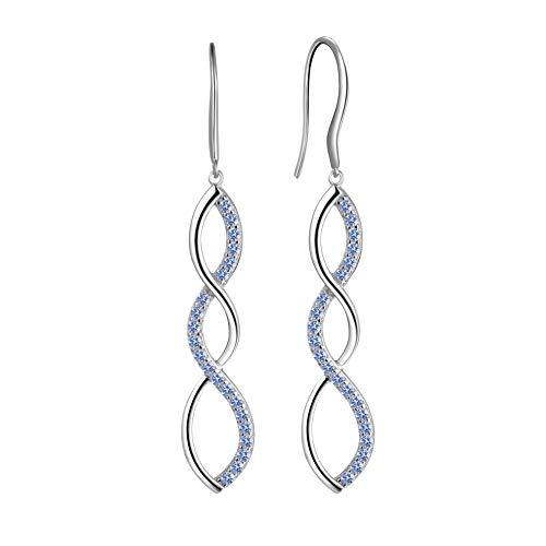 - Aurora Tears Infinity Swirl Dangle Drop Twist Earrings Blue 925 Sterling Silver Women Crystal Spiral Hook Earrings Zirconia Gift Girls Dating Jewelry DE0062H