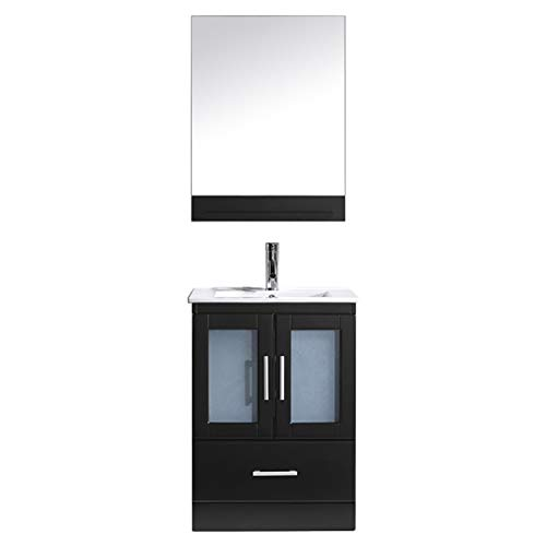 Espresso Single Vanity Basin (Virtu USA Single Bathroom Vanity in Espresso with White Ceramic Top and Square Sink with Brushed Nickel Faucet and Mirror)