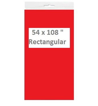 Solid Color Disposable Plastic Tablecloths/Table Covers, Rectangular, Multi-Packs (2, Red)