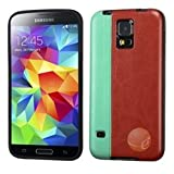 MYBAT Grass Green/Reddish Brown Leather Backing Candy Skin Cover compatible with Samsung Galaxy S5