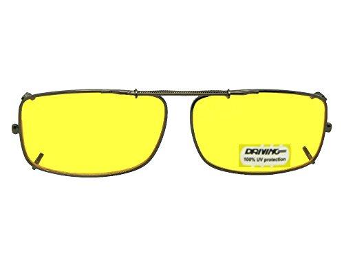 Slim Rectangle NON Polarized Yellow Lens Clip On Sunglasses (Bronze-NON Polarized Yellow Lens, 54mm Width x 33mm - Clip Glasses For Lenses On