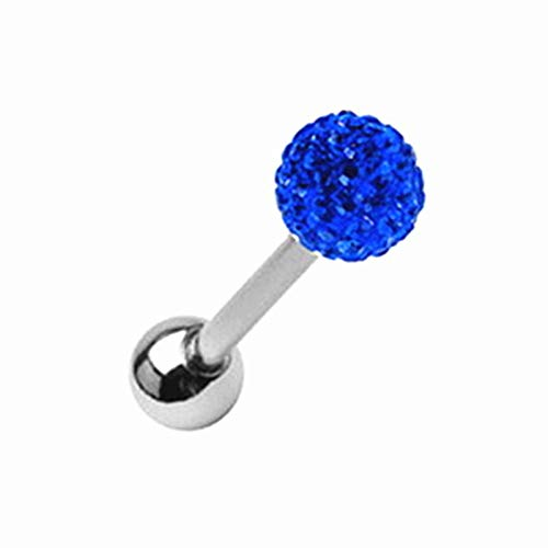 Pcu Color - 14G Surgical Steel Czech Crystal Ball Barbell Bar Tongue Ring Studs Piercing Pin (Colors - Dark Blue)