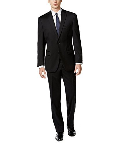 Calvin Klein Mens Wool Suit With Flat Pant, 38R, Black by Calvin Klein