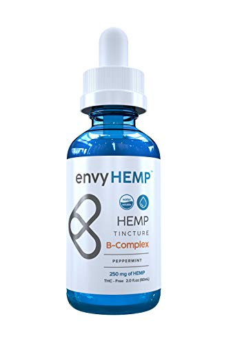 Envy Hemp B-Complex - 250 mg Water Soluble Hemp Oil with Complete B-12 Vitamin Supplement - Biotin for Skin and Hair - Organic Naturally Grown Vegan Hemp Isolate - USA Grown - for Daily Use (60mL)