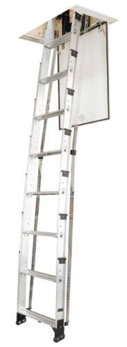 Werner AA10 250 Pound Duty Rating Televator Aluminum Universal Telescoping Attic  Ladder, 10