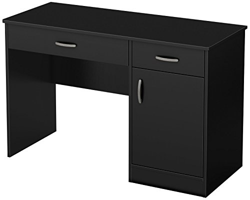 South Shore Small Computer Desk with Drawers, Pure Black (Computer Drawer With Desk)