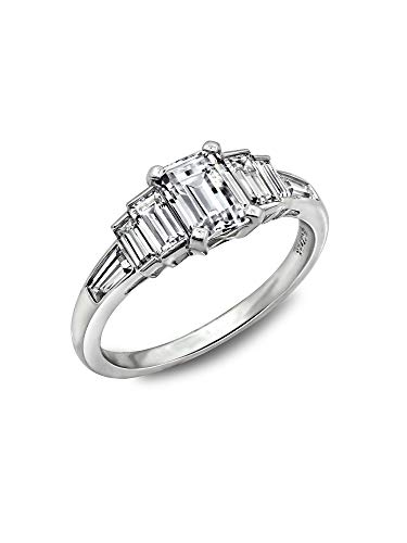 - Diamonbliss Platinum Plated Sterling Silver Cubic Zirconia Emerald Cut & Baguette Ring (7)