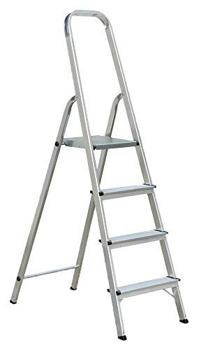 Draak Step Ladder 4 Step - Non Slip Treads - Ladder Made From Lightweight Aluminium Certified to BS EN 131 Part 1-3 DRAAK-ALUM-SL-4