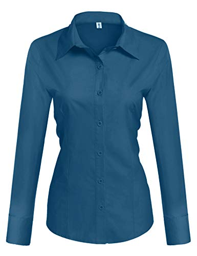 HOTOUCH Women's Formal Work Wear Solid Simple Shirt Button Down Shirts Blue Green Medium ()