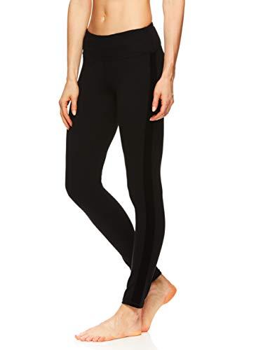 Gaiam Women's Om Yoga Pants - Performance Compression Full Length Spandex Leggings - Sloan Velvet Black, -